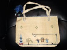 ANTIQUE BEIGE LINEN EMBROIDERED HAND BAG CHINESE DECORATION & TASSELS UNUSED